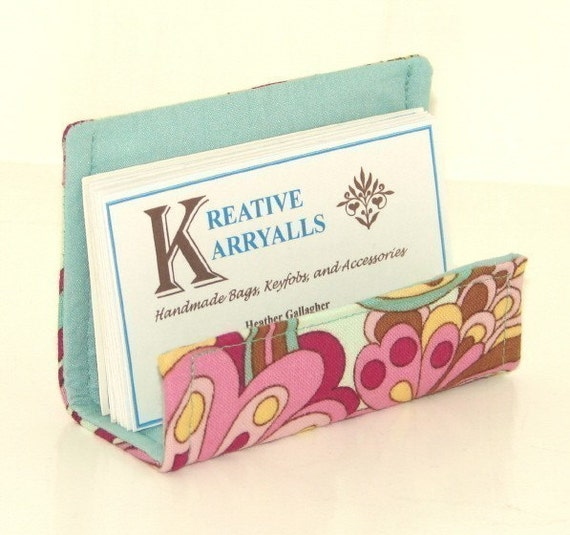 NEW Fabric Desktop Business Card Holder Fun Pastel Fabric
