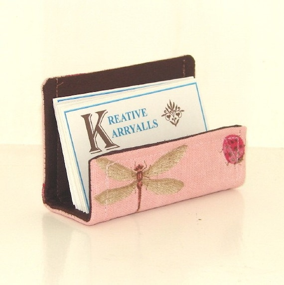 CLEARANCE Fabric Desktop Business Card Holder Pink and Brown Lady Bugs & Dragonflies LAST ONE