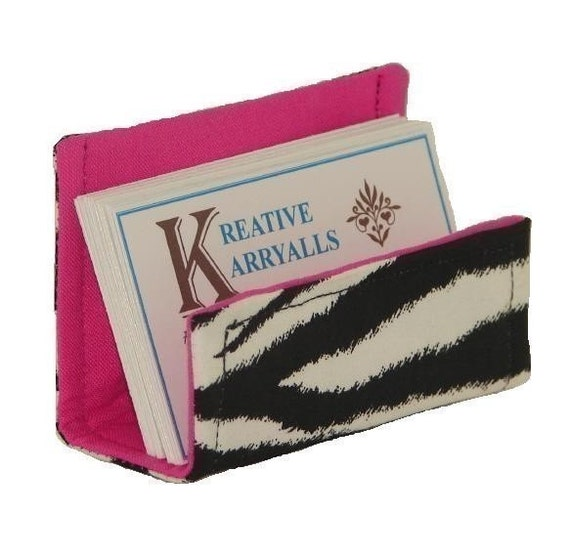 Fabric Business Card Holder Black and White Zebra on Hot Pink