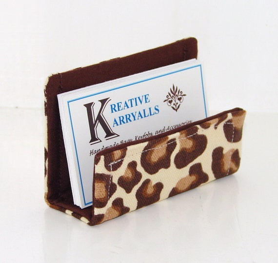 Fabric Business Card Holder Brown Leopard Print