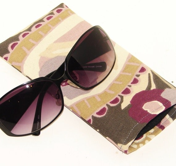 NEW LOW PRICE Gray Tan and Purple Sunglasses Case