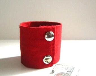Secret Stash Money Cuff-  Red Denim -hide your cash, jewels, key, health info in a secret inside  zipper
