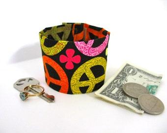Kids- Secret Stash Money Cuff-  Give Peace a Chance- Hide your cash, keys, lunch money in a hidden inside zipper