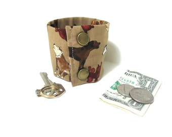 """Money Wrist Cuff- """"Secret Stash""""- hide your cash, jewels, key, health info in a secret zipper. Howling Dogs."""