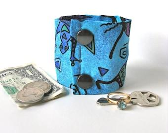 """Money Cuff Wrist Wallet- """"Secret Stash- """" Kokopelli Blue- hide your cash, key, jewels  in a hidden zipper."""