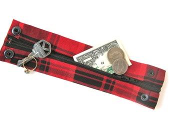 "Money Wrist Cuff- ""Secret Stash"" -Classic Red and Black Plaid "" Hide your money, keys, jewels, in a hidden zipper."