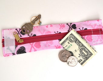 "Kids  ""Secret Stash"" Money Cuff- - Hide your lunch money, house key , teacher notes- Pink Crossbones"