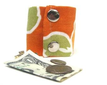 """Money Wrist Cuff- """"Secret Stash""""-  Tropical Orange Flower-  Hide your money, keys, jewels, in a hidden zipper."""