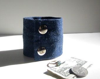 Secret Stash Money  Cuff in Dark Blue Denim- stash your cash, key, jewels in a hidden zipper