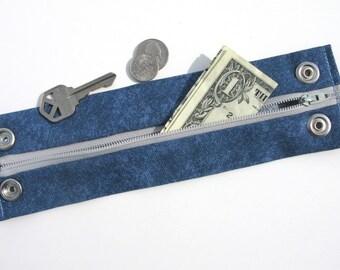 Secret Stash Money Cuff -  Blue Denim