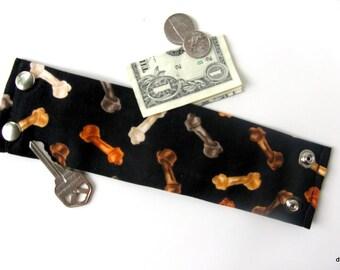 "Wristband  Money Cuff-"" Secret Stash"" Dog Bones- hide your cash, jewels, key, health info  in an inside zipper"