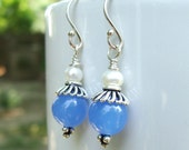 Blue Tau Earrings- Quartz, Pearl and Sterling Silver