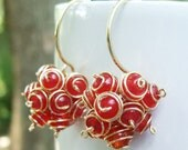 Phoenix Cluster Earrings- Red Jade with Gold Filled Wire