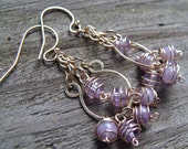 Lilac Chandelier Earrings- Lavender Amethyst, Pietersite and Gold Filled