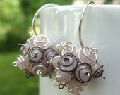 Victorian Lilac Cluster Earrings- Lavender Jade with Oxidized and Argentium Sterling Silver