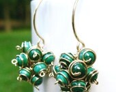 Gold Leaf Cluster Earrings- Malachite with Gold Filled Findings