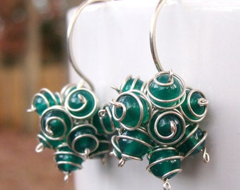 Envy Cluster Earrings- Green Onyx with Argentium Sterling Silver