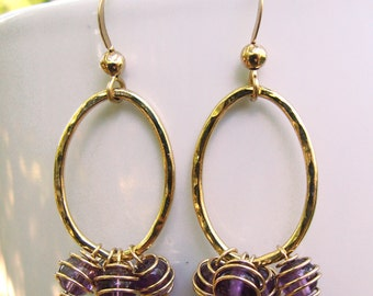 O Amethyst Earrings- Amethyst with Gold Filled findings