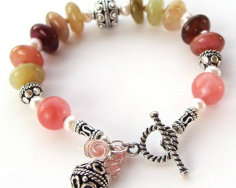 Wrist Candy Bracelet -Sterling Silver Bali Beads, Rainbow Jade, Freshwater Pearls and Cherry Quartz