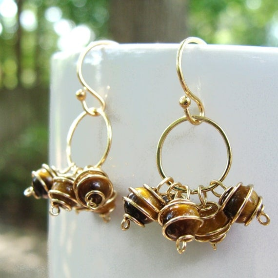Tiger Eye Circle Cluster Earrings- Tiger Eye and Gold Filled