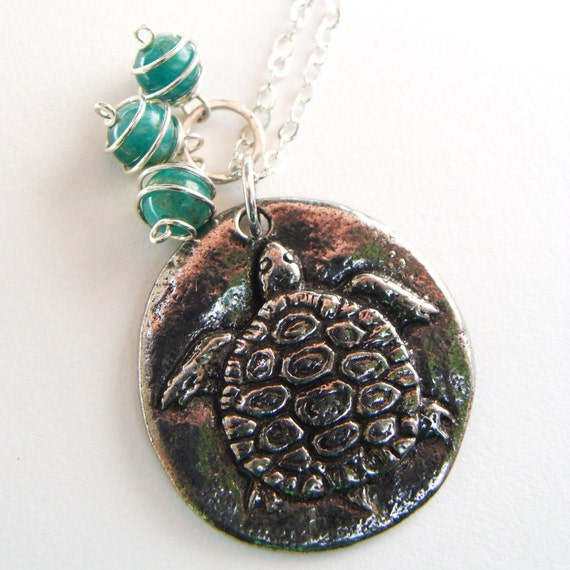Sink or Swim Necklace- Pewter Charm with Russian Amazonite and Sterling Silver