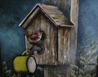 Wren bird painting on ceramic tile