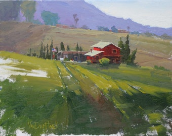 Patriotic Neighbors - 11 X 14 Inch Original Oil Painting of a Farm and a Vineyard - Vineyard Painting - Living Room Art