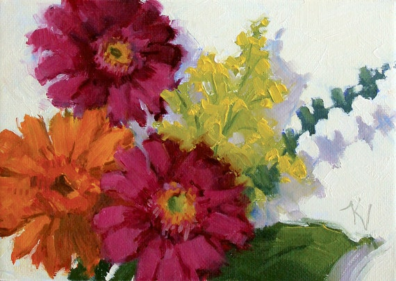 Three Daisies- A Study - Original Oil Painting of Daisies - Flower Painting - Daisy Painting