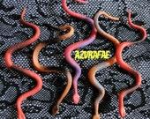 Set of 5 - MEDUSA'S ORANGE Snakes Hair Clips
