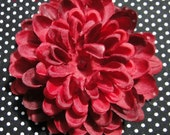 Dark RED Mum Flower Hair Clip with Bead Center