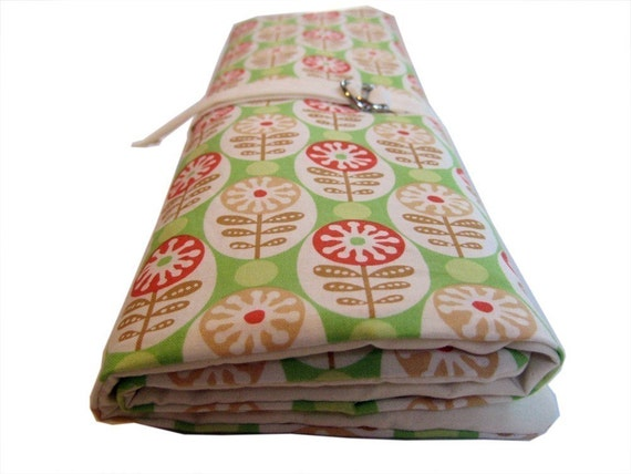 multi purpose knitting needle organizer - lime green mod flowers