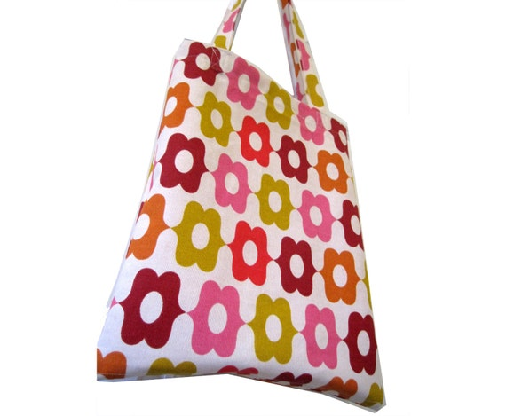 canvas tote bag - pink yellow and orange mod