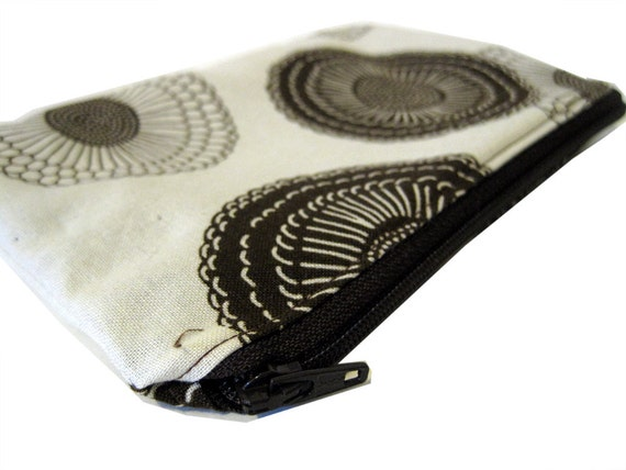 zipper pouch - brown flowers on white