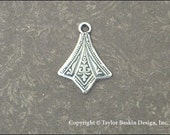 Antiqued Sterling Silver Plated Art Deco Earring or Pendant Drop (item 1110 AS) - 18 Pieces