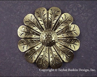Large Flower Jewelry Finding in Antique Plated Gold - 1 Piece