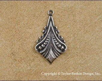 Antiqued Sterling Silver Plated Art Deco Earring or Pendant Component (item 1305 AS) - 12 Pieces