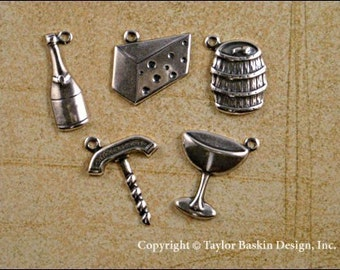 Antique Sterling Silver Plated Wine and Cheese Charms Mixed Lot - 35 pieces