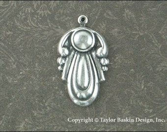 Antiqued Sterling Silver Plated Art Nouveau Type Dapped Component (item 1686 AS) - 6 pieces