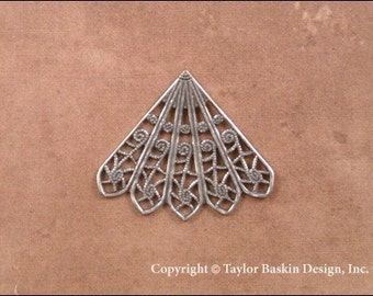 Antiqued Sterling Silver Plated Victorian Filigree Component (item 1508 AS-5 Point) - 6 Pieces