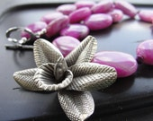 Thai Silver Orchid Pendant and Pink Agate Necklace REDUCED