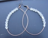 White Frosted Glass Hearts Copper Hoop Earrings