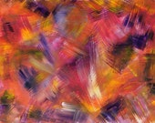 Fiery Abstract, Art Print of Acrylic Painting