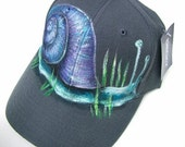Custom Handpainted Baseball Cap with Purple Snail, Hat