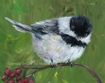Chickadee, Art Print of Acrylic Bird Painting