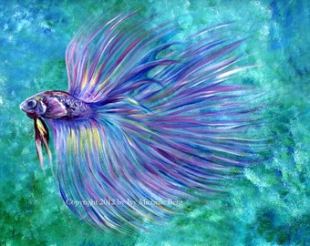 Violet Betta Fish, Art Print of Acrylic Painting