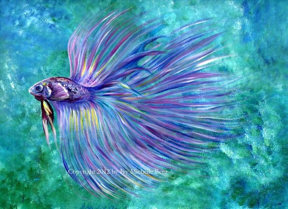 Violet betta fish art print of acrylic painting for Betta fish painting