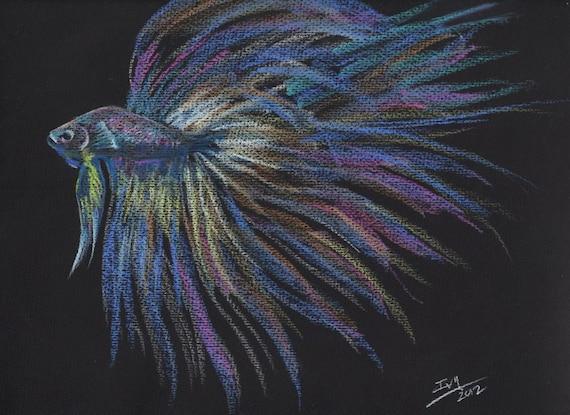 Rainbow Betta 2 Original Pastel Fish Drawing/Painting