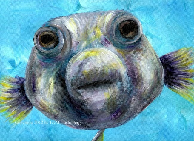 Big fish kiss art print of acrylic painting for Big fish printing