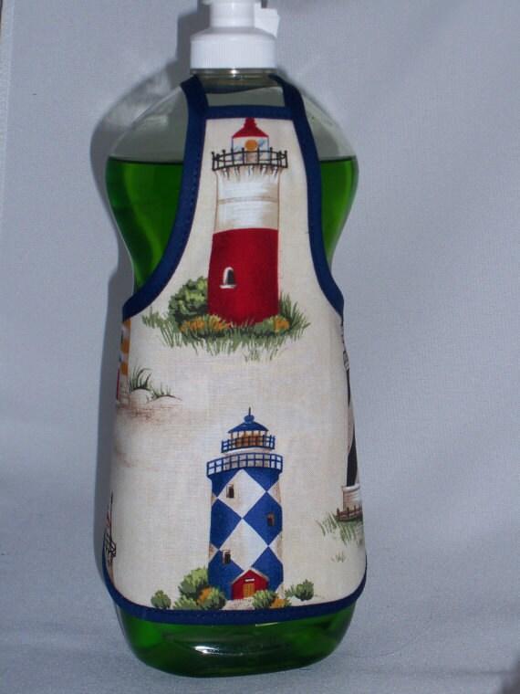 Lighthouse  Kitchen Decor Blue Red Dish Soap Bottle Apron Cover Fun Lg
