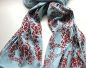 Screen Printed Jersey Scarf in Light Blue with Red Wallpaper Motif